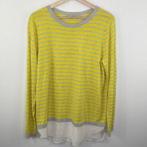 LOFT Yellow Cream Striped Silk Blend Sweater L